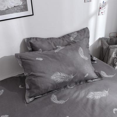 2019新品-斜纹活性磨毛单枕套 植物羊绒澳棉化纤磨毛枕套 48cmX74cm / 对 心情故事-灰