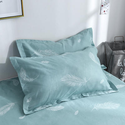 2019新品-斜纹活性磨毛单枕套 植物羊绒澳棉化纤磨毛枕套 48cmX74cm / 对 心情故事-蓝