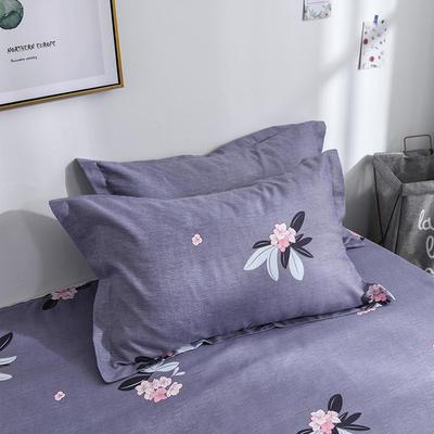 2019新品-斜纹活性磨毛单枕套 植物羊绒澳棉化纤磨毛枕套 48cmX74cm / 对 嫣语花香