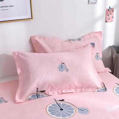 2019新品-斜纹活性磨毛单枕套 植物羊绒澳棉化纤磨毛枕套 48cmX74cm / 对 阳光甜橙-粉