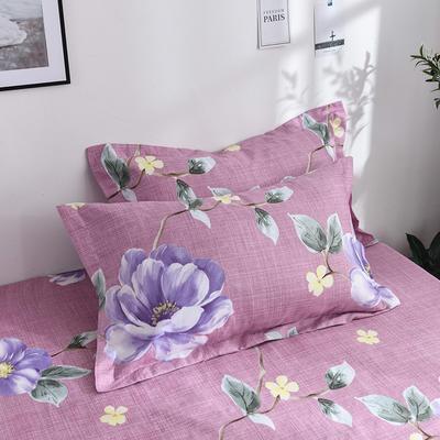 2019新品-斜纹活性磨毛单枕套 植物羊绒澳棉化纤磨毛枕套 48cmX74cm / 对 月夕花叶