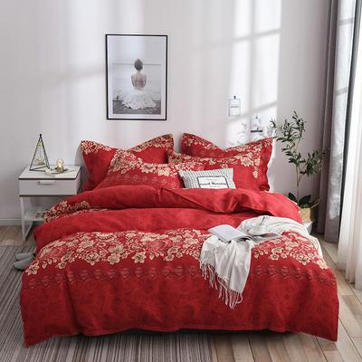 2019新款-斜纹活性磨毛四件套植物羊绒澳棉四件套床单床笠款磨毛暖阳棉 1.2m 床单款 花语之都