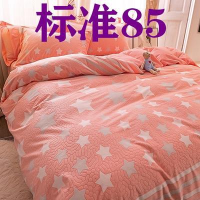 2019新款立体雕花绒四件套爆款水晶绒宝宝绒法莱绒四件套 1.8m(6英尺)床 魅力星光-红玉