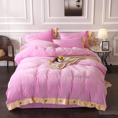 2019纽扣款水晶绒四件套加厚纯色绣花宝宝绒四件套 1.8m(6英尺)床 美丽梦想-粉色