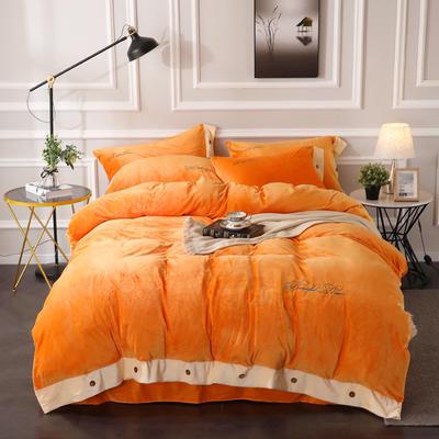 2019纽扣款水晶绒四件套加厚纯色绣花宝宝绒四件套 1.8m(6英尺)床 美丽梦想-活力橙