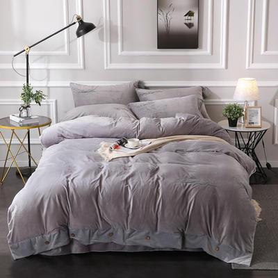 2019纽扣款水晶绒四件套加厚纯色绣花宝宝绒四件套 1.8m(6英尺)床 美丽梦想-银灰