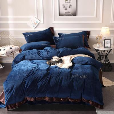2019纽扣款水晶绒四件套加厚纯色绣花宝宝绒四件套 1.5m(5英尺)床 美丽梦想-宝石蓝
