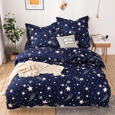 2020新款斜纹磨毛四件套 1.5m(5英尺)床单款 流星雨-蓝