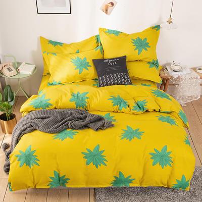 2020新款斜纹磨毛四件套 1.5m(5英尺)床单款 落枫-黄