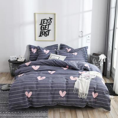 2020新款斜纹磨毛四件套 1.5m(5英尺)床单款 心花