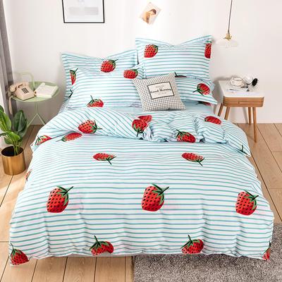 2019新款-斜纹磨毛四件套植物羊绒贡棉澳棉四件套床单床笠款小清新暖阳棉 1.5床单款 草莓派-绿