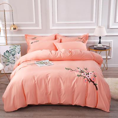 2020新款纯棉+毛巾绣四件套 1.2m床单款三件套 桃花朵朵-玉色