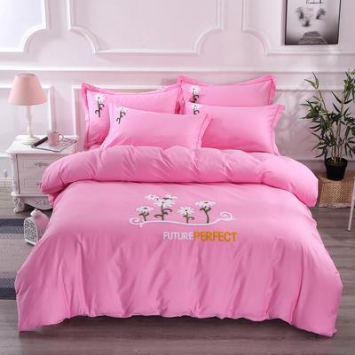 2020新款纯棉+毛巾绣四件套 1.2m床单款三件套 夏花绽放-粉色