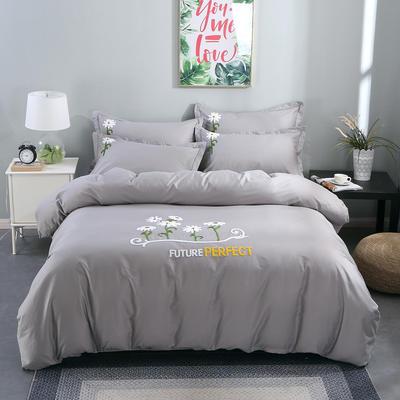 2020新款纯棉+毛巾绣四件套 1.2m床单款三件套 夏花绽放-灰色