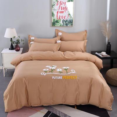 2020新款纯棉+毛巾绣四件套 1.2m床单款三件套 夏花绽放-咖啡