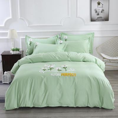 2020新款纯棉+毛巾绣四件套 1.2m床单款三件套 夏花绽放-绿色