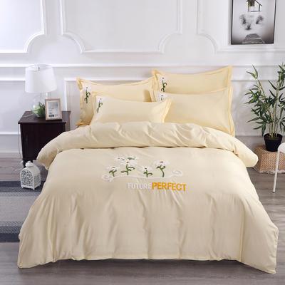 2020新款纯棉+毛巾绣四件套 1.2m床单款三件套 夏花绽放-米色