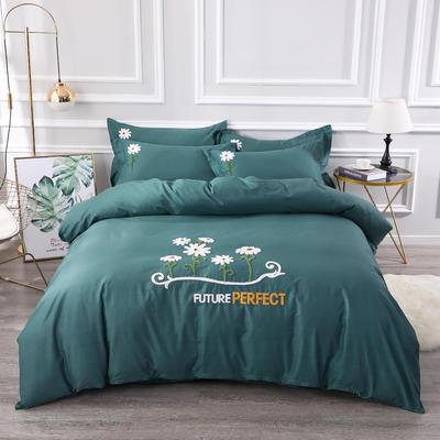 2020新款纯棉+毛巾绣四件套 1.2m床单款三件套 夏花绽放-墨绿