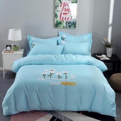 2020新款纯棉+毛巾绣四件套 1.2m床单款三件套 夏花绽放-天蓝