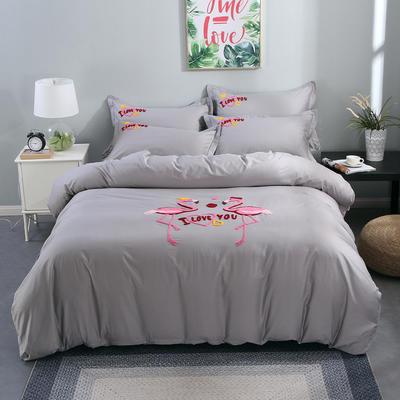 2020新款纯棉+毛巾绣四件套 1.2m床单款三件套 幸福烈鸟-灰色