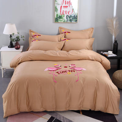 2020新款纯棉+毛巾绣四件套 1.2m床单款三件套 幸福烈鸟-咖啡