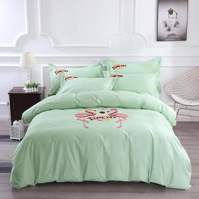2020新款纯棉+毛巾绣四件套 1.2m床单款三件套 幸福烈鸟-绿色