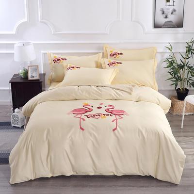 2020新款纯棉+毛巾绣四件套 1.2m床单款三件套 幸福烈鸟-米色