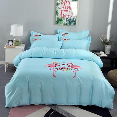 2020新款纯棉+毛巾绣四件套 1.2m床单款三件套 幸福烈鸟-天蓝