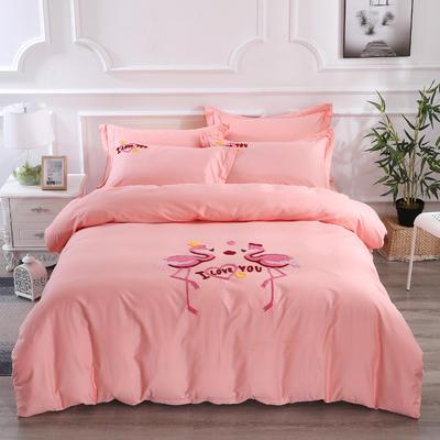 2020新款纯棉+毛巾绣四件套 1.2m床单款三件套 幸福烈鸟-玉色