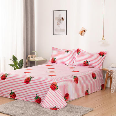 澳棉磨毛单件床单加厚植物羊绒贡棉暖阳棉床单接外贸单 200cmx230cm 草莓派-粉