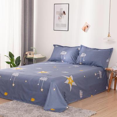澳棉磨毛单件床单加厚植物羊绒贡棉暖阳棉床单接外贸单 200cmx230cm 卡通星-灰