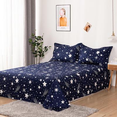 澳棉磨毛单件床单加厚植物羊绒贡棉暖阳棉床单接外贸单 200cmx230cm 流星雨-蓝
