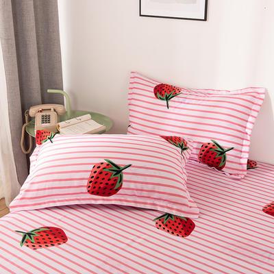 2019新品-斜纹活性磨毛单枕套 植物羊绒澳棉磨毛枕套暖阳棉 48cmX74cm / 一对 草莓派-粉
