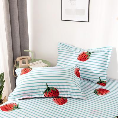 2019新品-斜纹活性磨毛单枕套 植物羊绒澳棉磨毛枕套暖阳棉 48cmX74cm / 一对 草莓派-绿