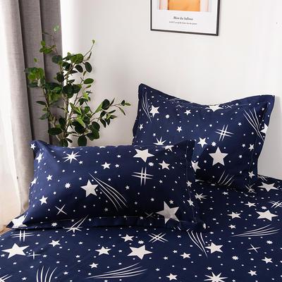 2019新品-斜纹活性磨毛单枕套 植物羊绒澳棉磨毛枕套暖阳棉 48cmX74cm / 一对 流星雨-蓝