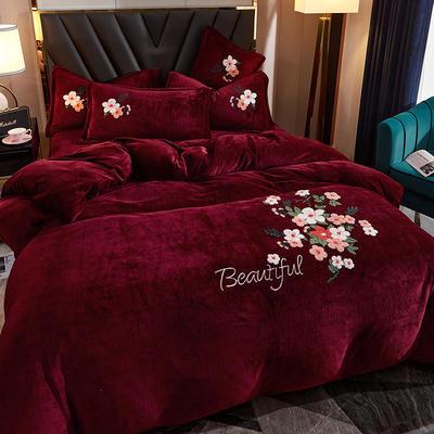 2020牛奶绒毛巾绣四件套加厚宝宝绒水晶绒金貂绒牛奶绒四件套 1.8m(6英尺)床 美妙花朵-红