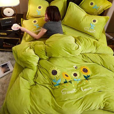 2020牛奶绒毛巾绣四件套加厚宝宝绒水晶绒金貂绒牛奶绒四件套 1.8m(6英尺)床 甜蜜之恋-绿