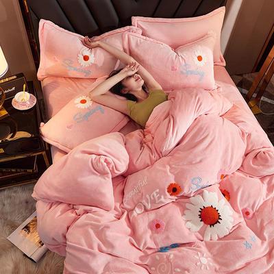 2020牛奶绒毛巾绣四件套加厚宝宝绒水晶绒金貂绒牛奶绒四件套 1.8m(6英尺)床 向阳花开-粉