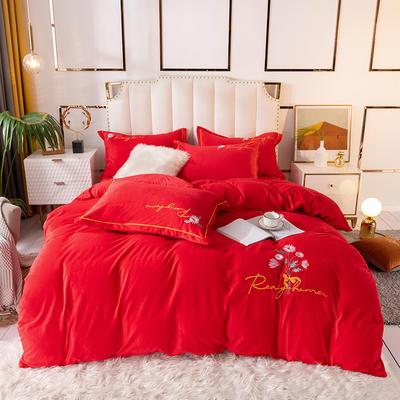 2020新款水晶绒绣花四件套加厚宝宝绒牛奶绒雕花绒四件套 1.8m(6英尺)床 向阳花-大红