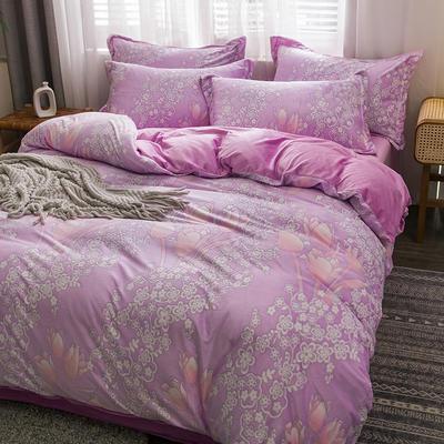 2020新款水晶绒四件套爆款立体雕花绒四件套宝宝绒法莱绒牛奶绒 1.8m(6英尺)床 十里飘香-紫