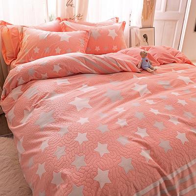 2020新款立体雕花绒四件套爆款水晶绒宝宝牛奶绒绒四件套 1.5m(5英尺)床 魅力星光-红玉