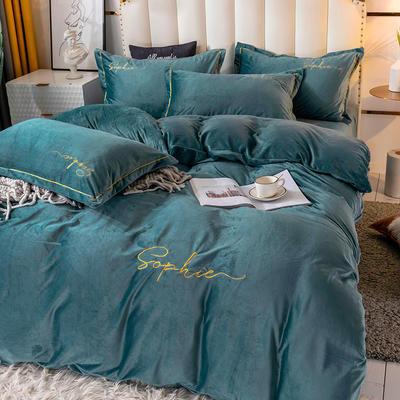2020新款绣花水晶绒四件套加厚宝宝绒牛奶绒雕花绒四件套 1.8m(6英尺)床 简单爱-豆绿