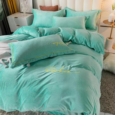 2020新款绣花水晶绒四件套加厚宝宝绒牛奶绒雕花绒四件套 1.8m(6英尺)床 简单爱-湖蓝
