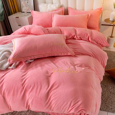 2020新款绣花水晶绒四件套加厚宝宝绒牛奶绒雕花绒四件套 1.8m(6英尺)床 简单爱-粉玉