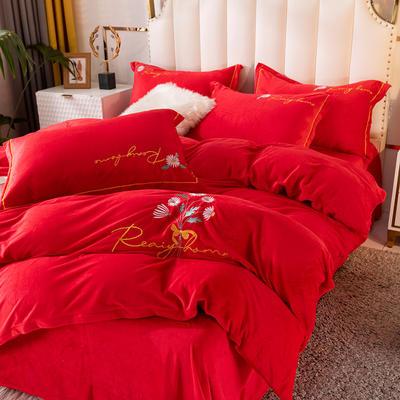 2020新款绣花水晶绒四件套加厚宝宝绒牛奶绒雕花绒四件套 1.8m(6英尺)床 向阳花-大红