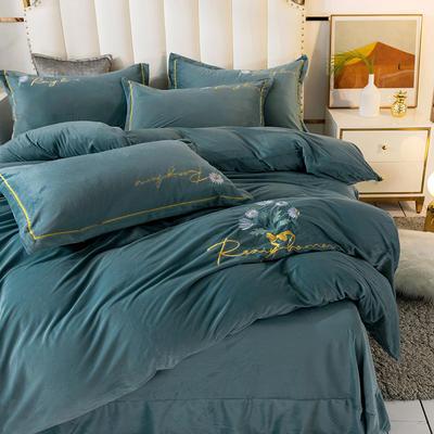 2020新款绣花水晶绒四件套加厚宝宝绒牛奶绒雕花绒四件套 1.8m(6英尺)床 向阳花-豆绿