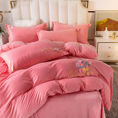 2020新款绣花水晶绒四件套加厚宝宝绒牛奶绒雕花绒四件套 1.8m(6英尺)床 向阳花-粉玉
