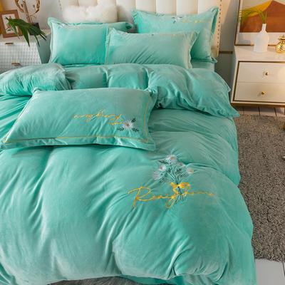 2020新款绣花水晶绒四件套加厚宝宝绒牛奶绒雕花绒四件套 1.8m(6英尺)床 向阳花-湖蓝