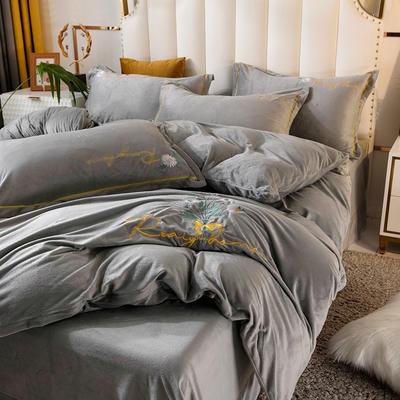 2020新款绣花水晶绒四件套加厚宝宝绒牛奶绒雕花绒四件套 1.8m(6英尺)床 向阳花-灰