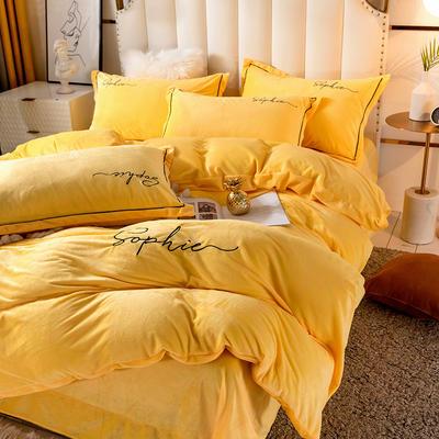 2020新款绣花水晶绒四件套加厚宝宝绒牛奶绒雕花绒四件套 1.8m(6英尺)床 简单爱-鹅黄